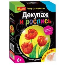 Декупаж. Красный тюльпан (тарелочка)